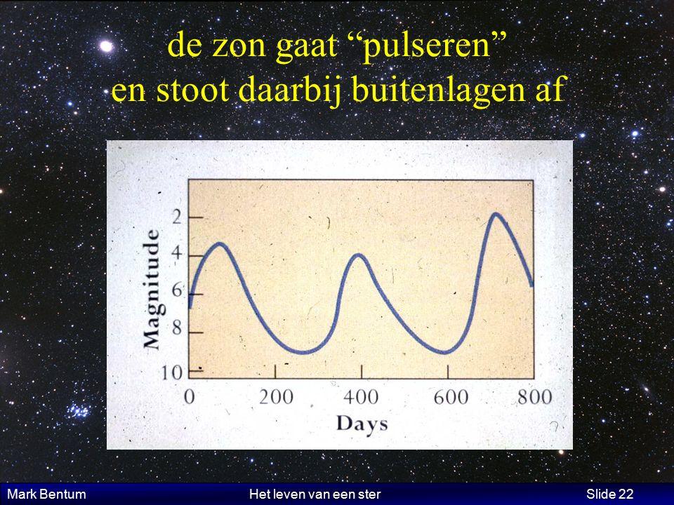 Mark Bentum Het leven van een ster Slide 22 de zon gaat pulseren en stoot daarbij buitenlagen af
