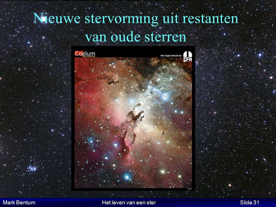 Mark Bentum Het leven van een ster Slide 31 Nieuwe stervorming uit restanten van oude sterren