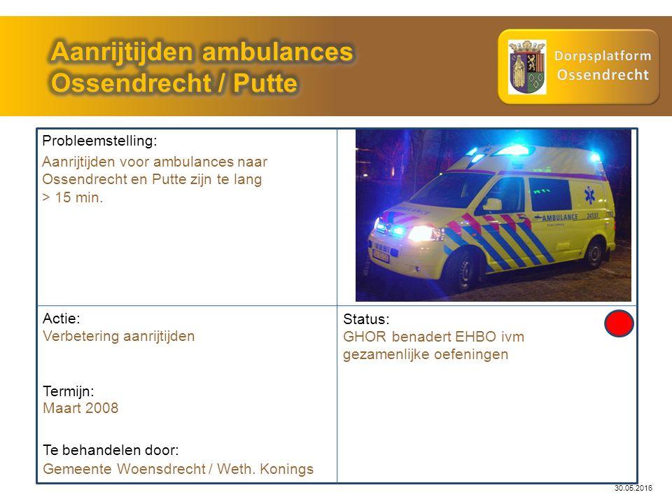 30.05.2016 Probleemstelling: Actie: Gemeente Woensdrecht / Weth. Konings Status: GHOR benadert EHBO ivm gezamenlijke oefeningen Te behandelen door: Aa