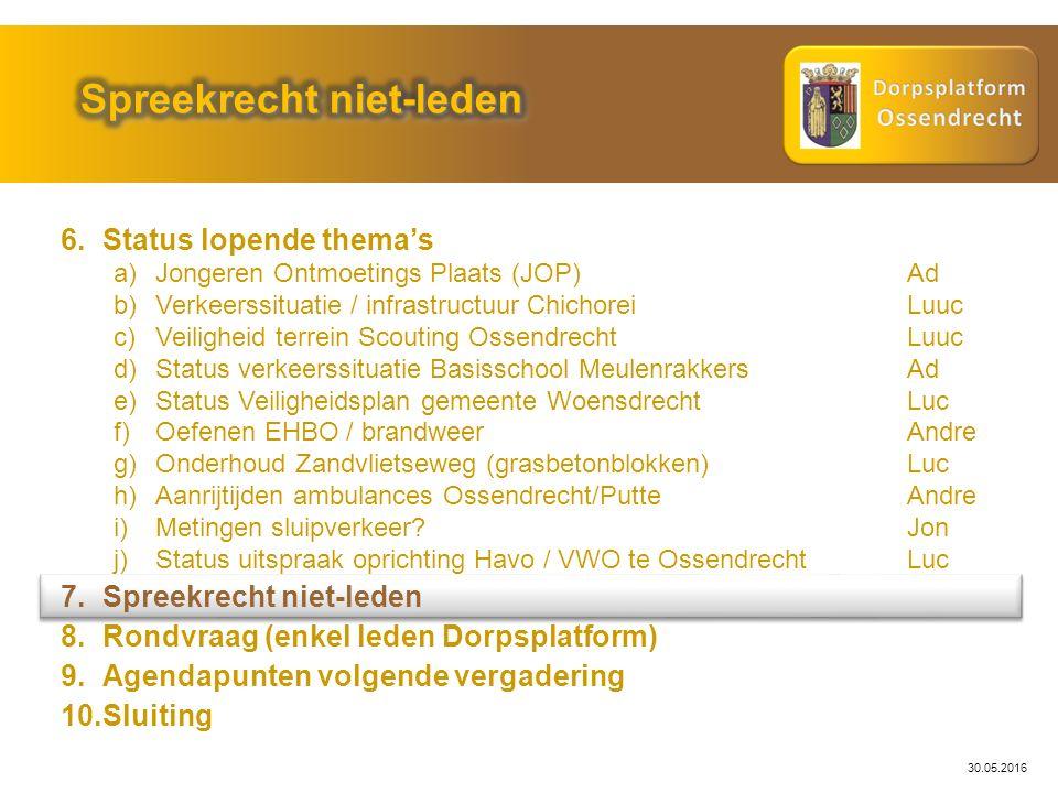 30.05.2016 6.Status lopende thema's a)Jongeren Ontmoetings Plaats (JOP)Ad b)Verkeerssituatie / infrastructuur ChichoreiLuuc c)Veiligheid terrein Scout