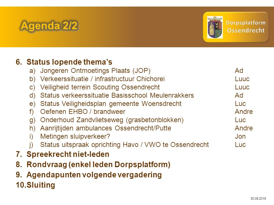 30.05.2016 Probleemstelling: Actie: Gemeente Woensdrecht Status: Huidige status.