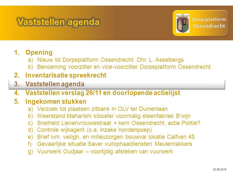 30.05.2016 Probleemstelling: Actie: Gemeente Woensdrecht / Weth.
