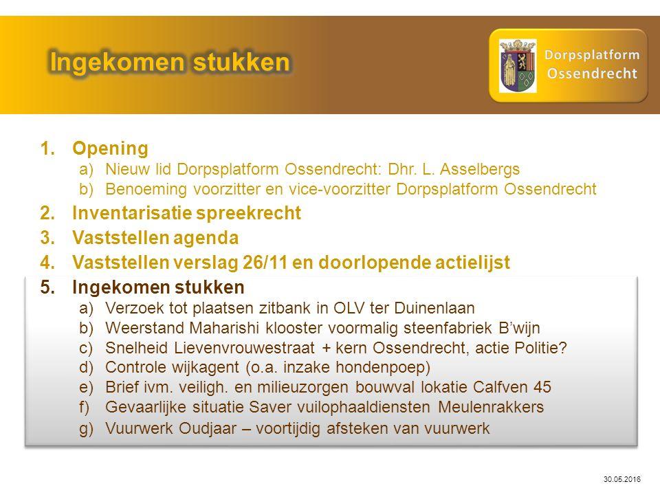 30.05.2016 1.Opening a)Nieuw lid Dorpsplatform Ossendrecht: Dhr. L. Asselbergs b)Benoeming voorzitter en vice-voorzitter Dorpsplatform Ossendrecht 2.I
