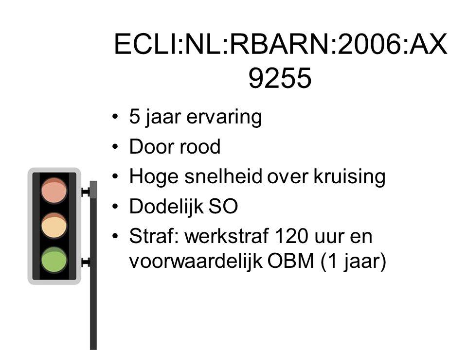 ECLI:NL:RBARN:2006:AX 9255 5 jaar ervaring Door rood Hoge snelheid over kruising Dodelijk SO Straf: werkstraf 120 uur en voorwaardelijk OBM (1 jaar)