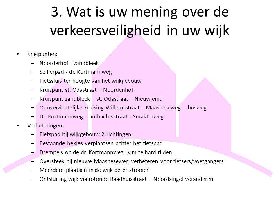 3. Wat is uw mening over de verkeersveiligheid in uw wijk Knelpunten: – Noorderhof - zandbleek – Seilierpad - dr. Kortmannweg – Fietssluis ter hoogte