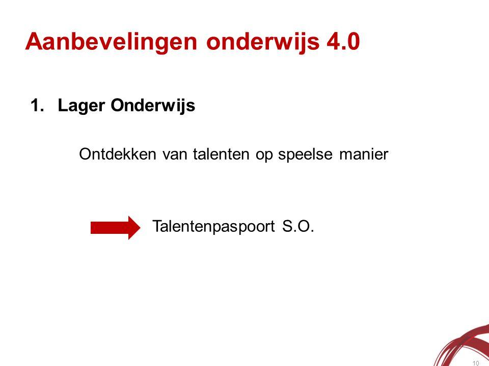 Aanbevelingen onderwijs 4.0 10 1.Lager Onderwijs Ontdekken van talenten op speelse manier Talentenpaspoort S.O.
