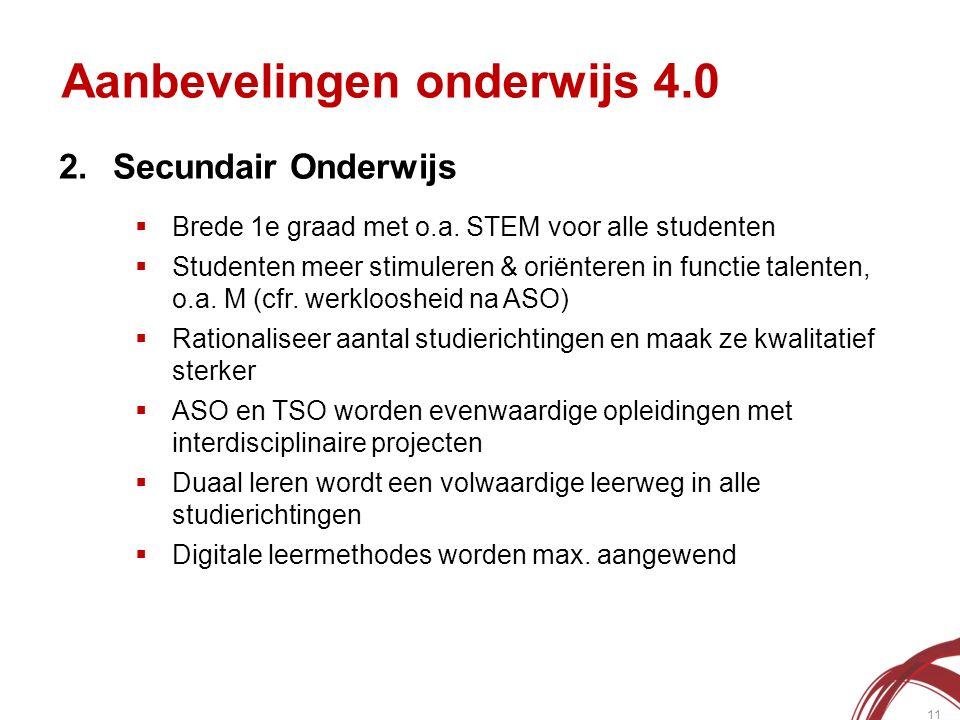 Aanbevelingen onderwijs 4.0 11 2.Secundair Onderwijs  Brede 1e graad met o.a.