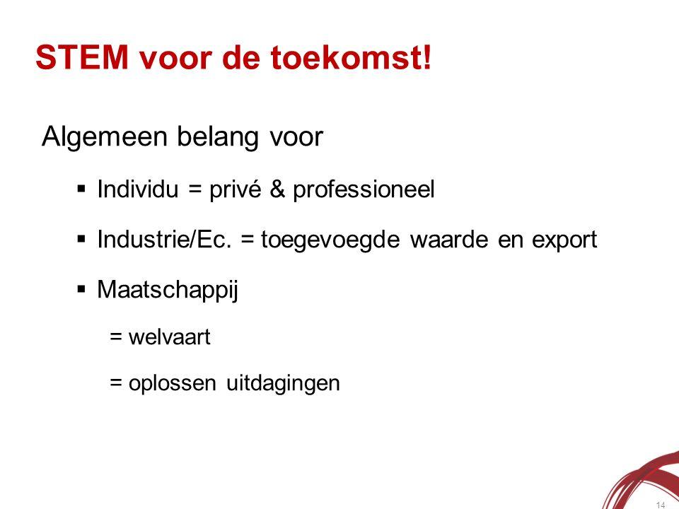 STEM voor de toekomst. 14 Algemeen belang voor  Individu = privé & professioneel  Industrie/Ec.