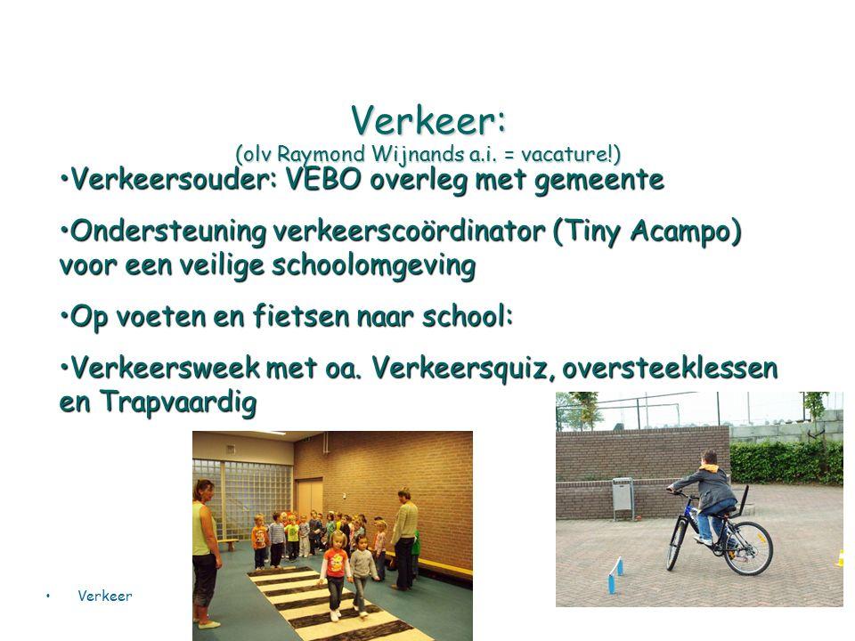 Verkeer: (olv Raymond Wijnands a.i. = vacature!) Verkeersouder: VEBO overleg met gemeenteVerkeersouder: VEBO overleg met gemeente Ondersteuning verkee