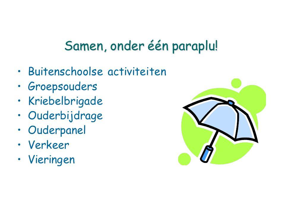 Samen, onder één paraplu! Buitenschoolse activiteiten Groepsouders Kriebelbrigade Ouderbijdrage Ouderpanel Verkeer Vieringen