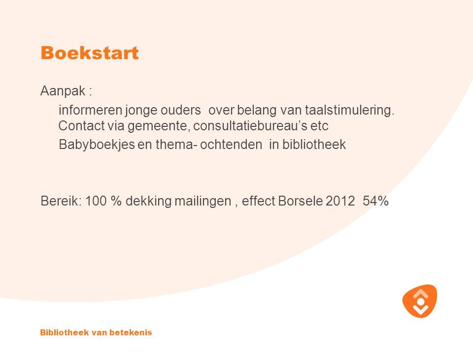 Boekstart Aanpak : informeren jonge ouders over belang van taalstimulering.