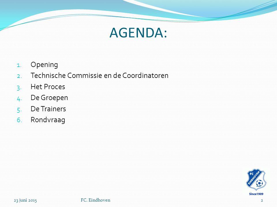 AGENDA: 1. Opening 2. Technische Commissie en de Coordinatoren 3.