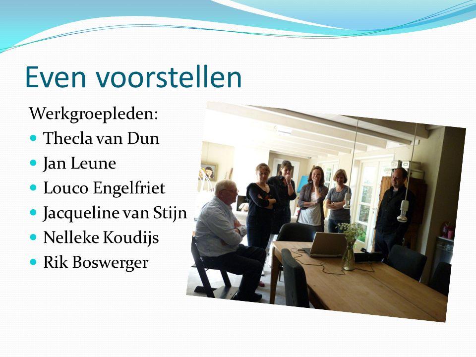 Even voorstellen Werkgroepleden: Thecla van Dun Jan Leune Louco Engelfriet Jacqueline van Stijn Nelleke Koudijs Rik Boswerger