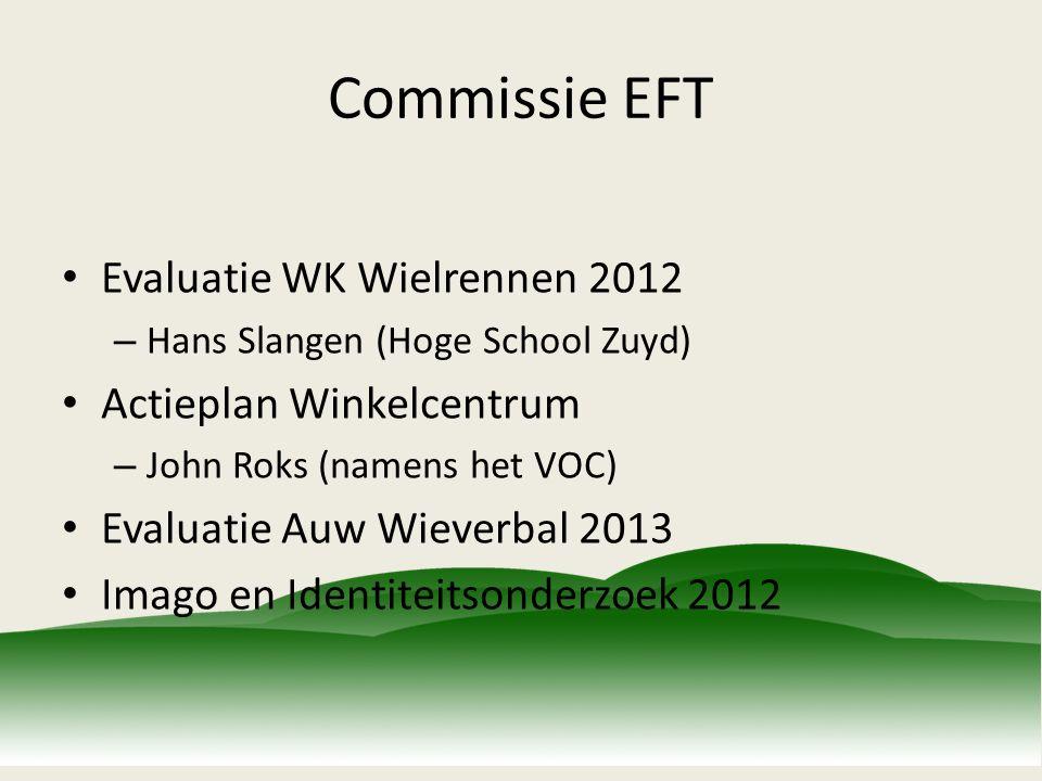 Commissie EFT Evaluatie WK Wielrennen 2012 – Hans Slangen (Hoge School Zuyd) Actieplan Winkelcentrum – John Roks (namens het VOC) Evaluatie Auw Wieverbal 2013 Imago en Identiteitsonderzoek 2012