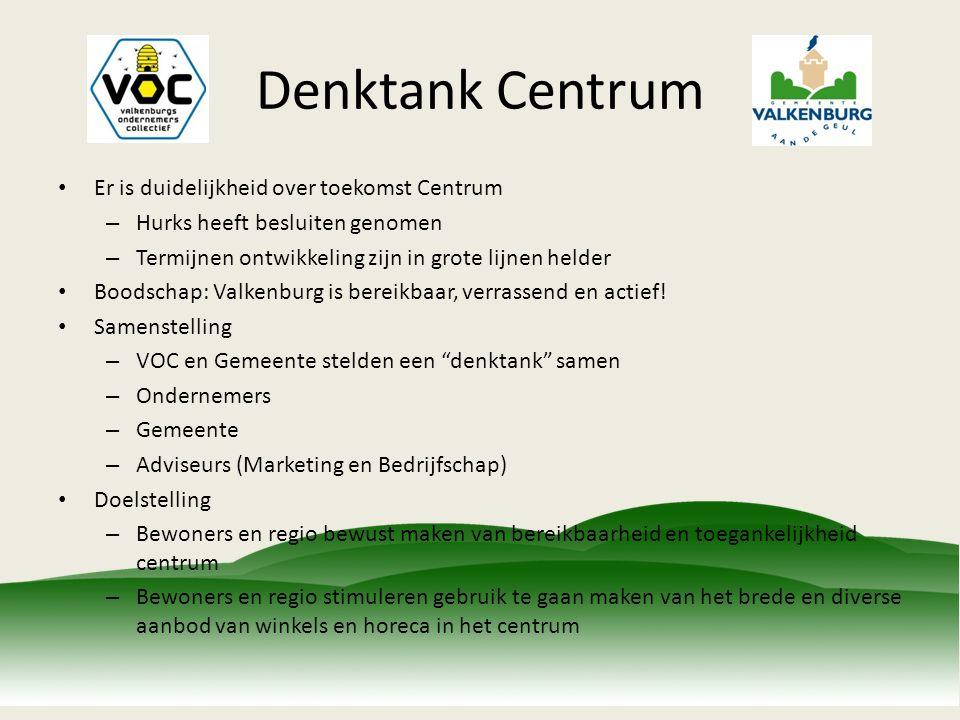 Denktank Centrum Er is duidelijkheid over toekomst Centrum – Hurks heeft besluiten genomen – Termijnen ontwikkeling zijn in grote lijnen helder Boodschap: Valkenburg is bereikbaar, verrassend en actief.