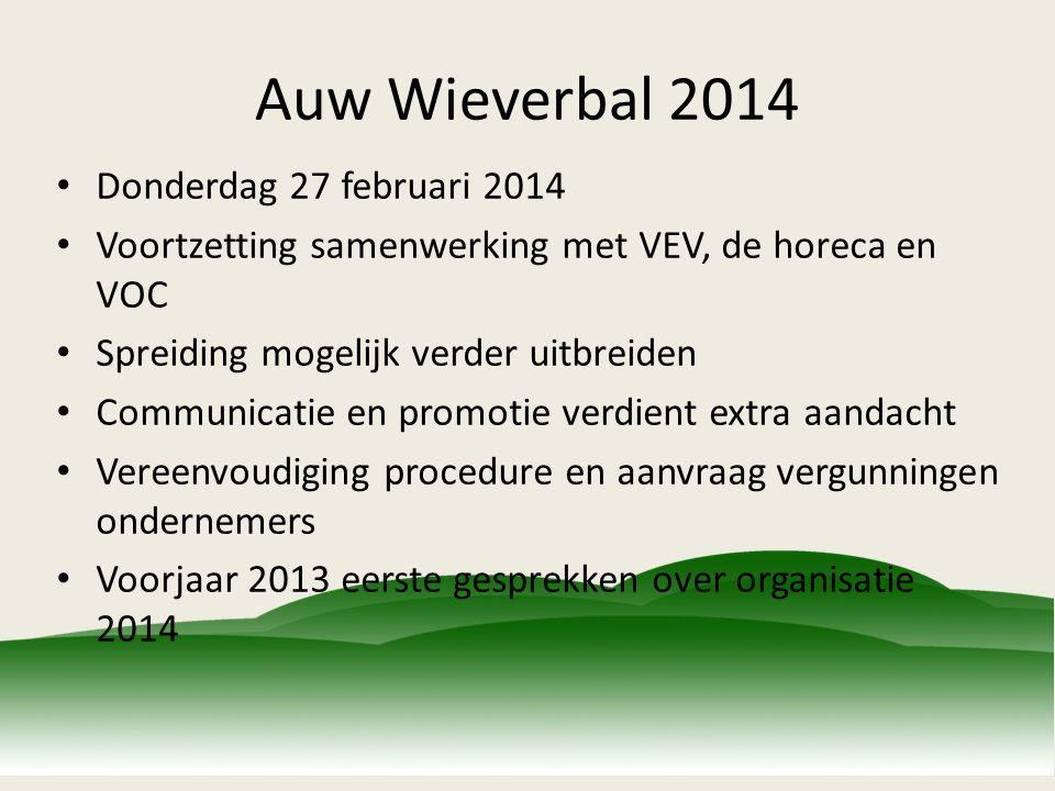 Auw Wieverbal 2014 Donderdag 27 februari 2014 Voortzetting samenwerking met VEV, de horeca en VOC Spreiding mogelijk verder uitbreiden Communicatie en