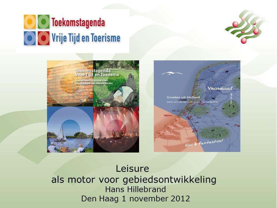 Betekenis Toerisme: 35 miljard bestedingen (3% bnp) Ruim 400.000 banen (4%) In stand houden voorzieningen Natuur + landschap + cultuurhistorie Fijne omgeving om te leven (geluk/welzijn) NL Vestigingsplaats Kans bij krimp