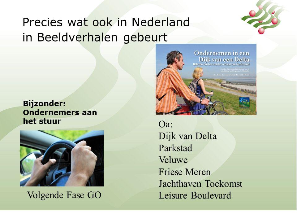 Precies wat ook in Nederland in Beeldverhalen gebeurt Bijzonder: Ondernemers aan het stuur Oa: Dijk van Delta Parkstad Veluwe Friese Meren Jachthaven Toekomst Leisure Boulevard Volgende Fase GO