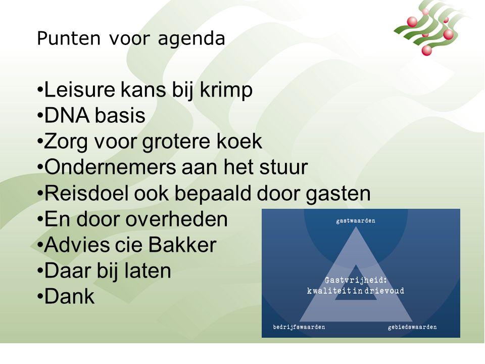 Punten voor agenda Leisure kans bij krimp DNA basis Zorg voor grotere koek Ondernemers aan het stuur Reisdoel ook bepaald door gasten En door overheden Advies cie Bakker Daar bij laten Dank