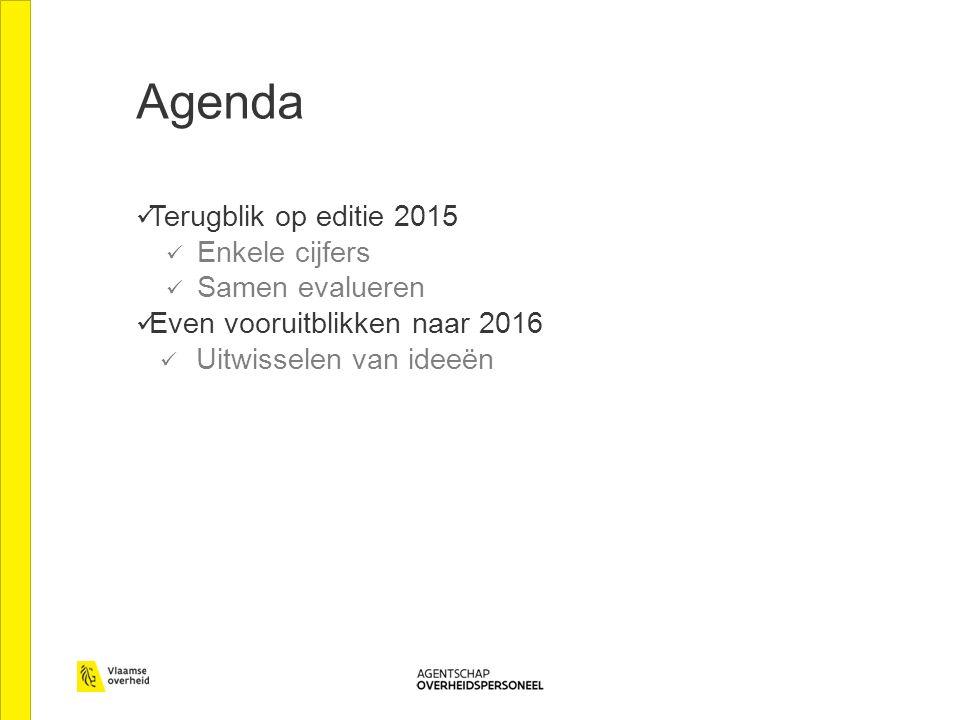 Agenda Terugblik op editie 2015 Enkele cijfers Samen evalueren Even vooruitblikken naar 2016 Uitwisselen van ideeën