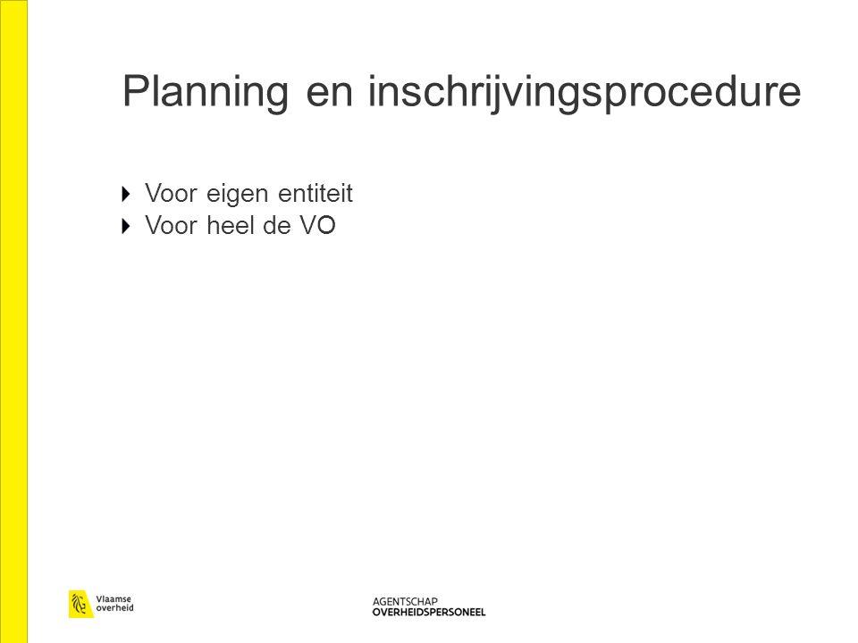 Planning en inschrijvingsprocedure Voor eigen entiteit Voor heel de VO
