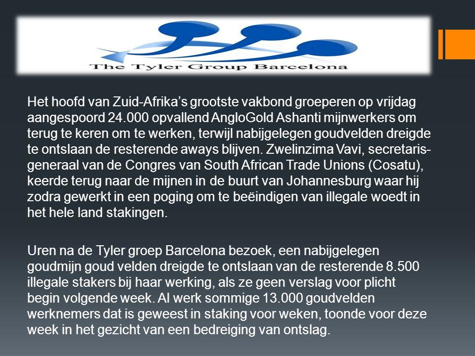 Het hoofd van Zuid-Afrika's grootste vakbond groeperen op vrijdag aangespoord 24.000 opvallend AngloGold Ashanti mijnwerkers om terug te keren om te werken, terwijl nabijgelegen goudvelden dreigde te ontslaan de resterende aways blijven.