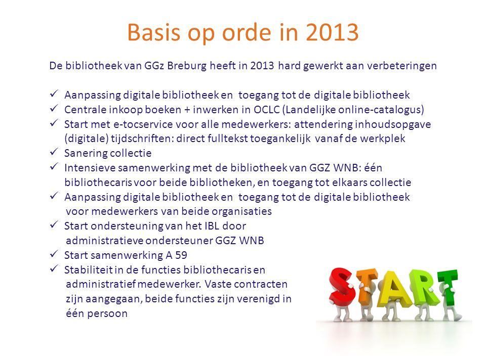 Basis op orde in 2013 De bibliotheek van GGz Breburg heeft in 2013 hard gewerkt aan verbeteringen Aanpassing digitale bibliotheek en toegang tot de di