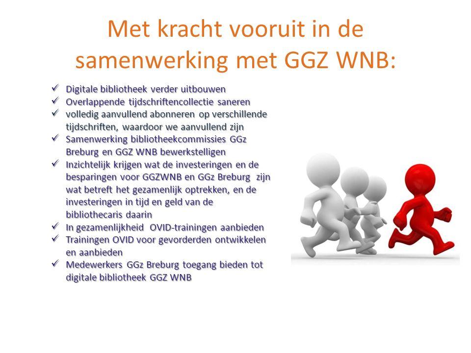 Met kracht vooruit in de samenwerking met GGZ WNB: Digitale bibliotheek verder uitbouwen Digitale bibliotheek verder uitbouwen Overlappende tijdschrif