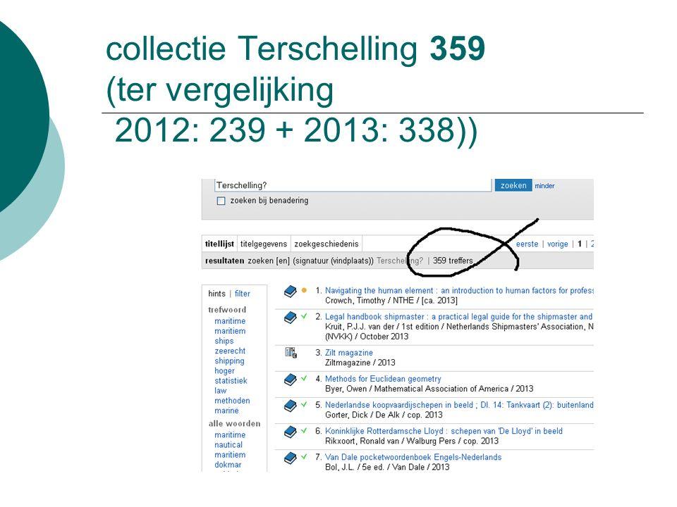 collectie Terschelling 359 (ter vergelijking 2012: 239 + 2013: 338))