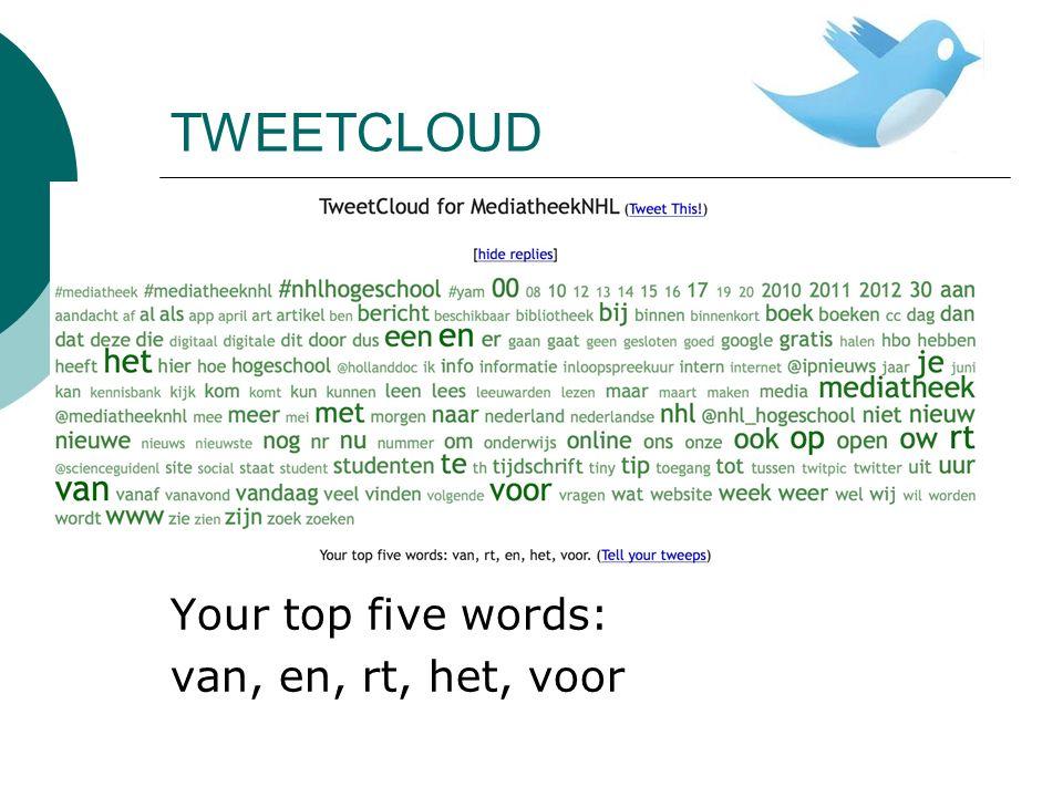 TWEETCLOUD Your top five words: van, en, rt, het, voor