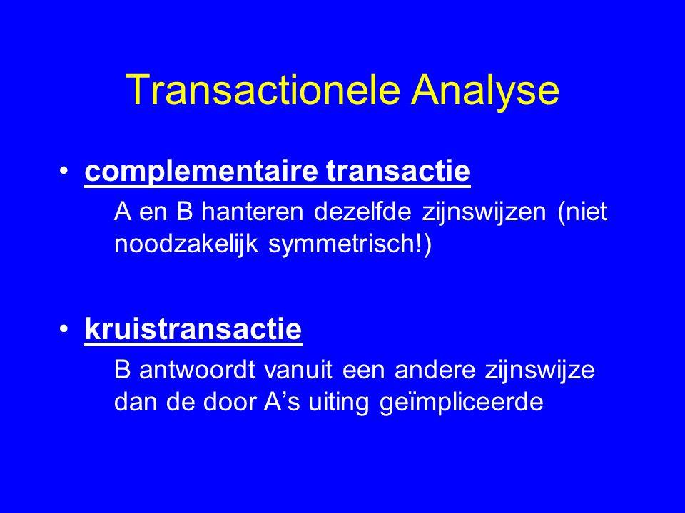 Transactionele Analyse complementaire transactie A en B hanteren dezelfde zijnswijzen (niet noodzakelijk symmetrisch!) kruistransactie B antwoordt vanuit een andere zijnswijze dan de door A's uiting geïmpliceerde
