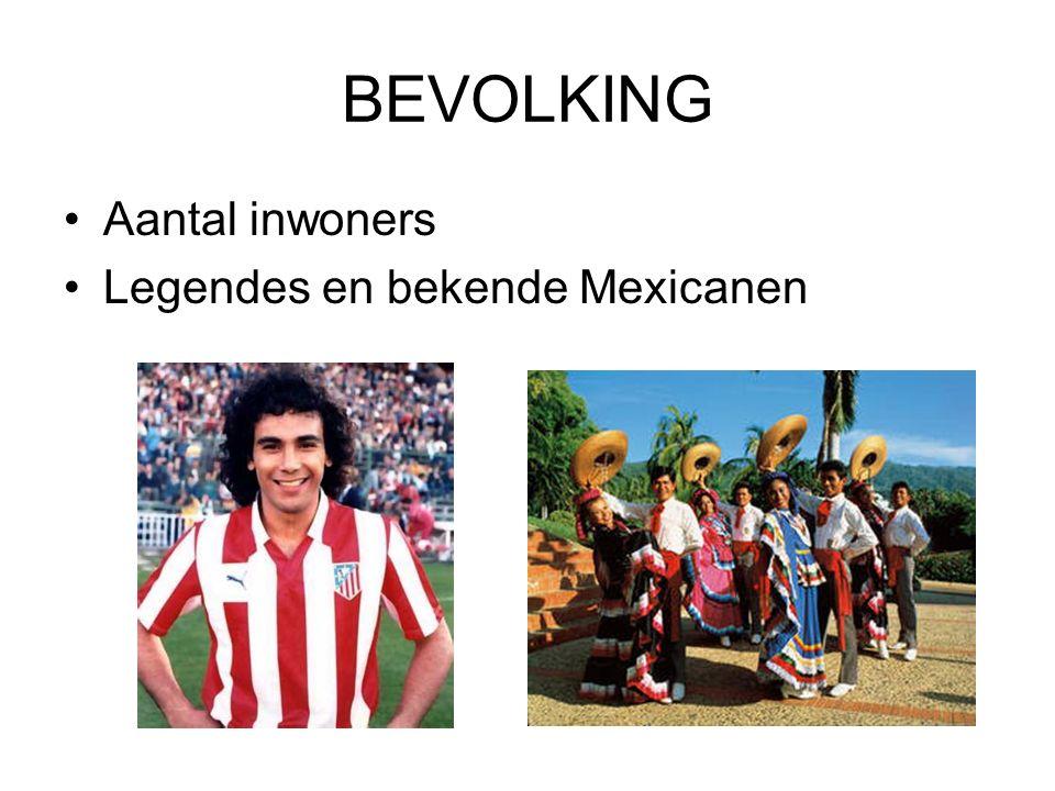 BEVOLKING Aantal inwoners Legendes en bekende Mexicanen