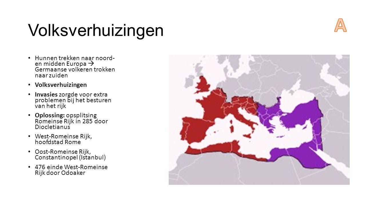 Volksverhuizingen Hunnen trekken naar noord- en midden Europa  Germaanse volkeren trokken naar zuiden Volksverhuizingen Invasies zorgde voor extra problemen bij het besturen van het rijk Oplossing: opsplitsing Romeinse Rijk in 285 door Diocletianus West-Romeinse Rijk, hoofdstad Rome Oost-Romeinse Rijk, Constantinopel (Istanbul) 476 einde West-Romeinse Rijk door Odoaker