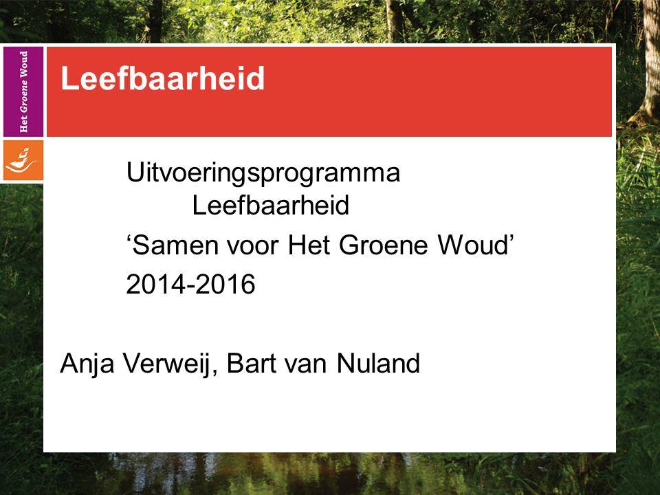 Leefbaarheid Uitvoeringsprogramma Leefbaarheid 'Samen voor Het Groene Woud' 2014-2016 Anja Verweij, Bart van Nuland