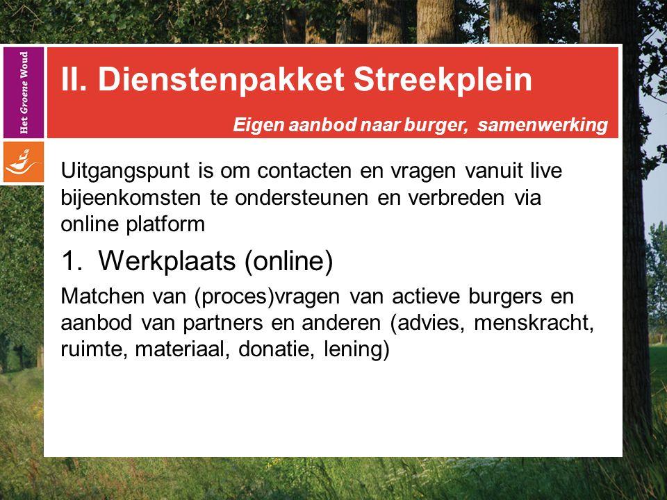 II. Dienstenpakket Streekplein Uitgangspunt is om contacten en vragen vanuit live bijeenkomsten te ondersteunen en verbreden via online platform  We