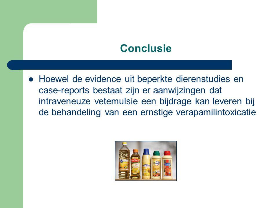 Conclusie Hoewel de evidence uit beperkte dierenstudies en case-reports bestaat zijn er aanwijzingen dat intraveneuze vetemulsie een bijdrage kan leveren bij de behandeling van een ernstige verapamilintoxicatie