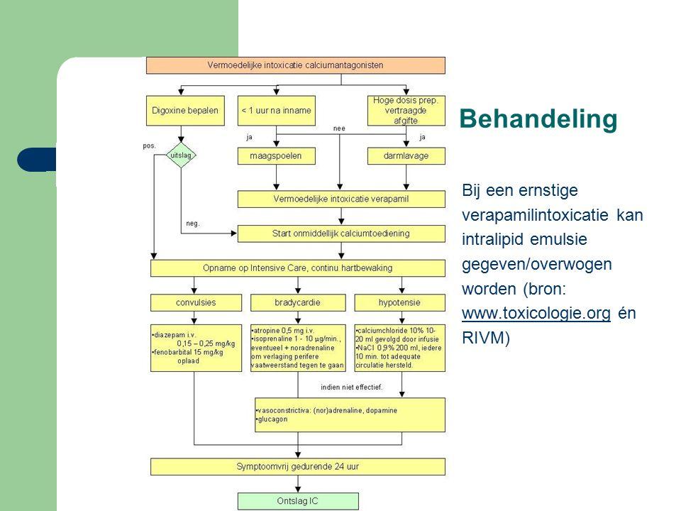 Behandeling Bij een ernstige verapamilintoxicatie kan intralipid emulsie gegeven/overwogen worden (bron: www.toxicologie.org énwww.toxicologie.org RIVM)