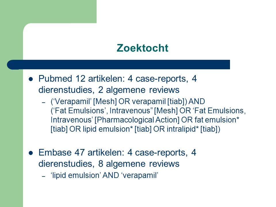 Oorsprong Intraveneuze vetemulsie: Intralipid – Emulsie: 20% sojaolie, glycerine, water en eigeel – 1962: parenterale voeding 1998: Intralipid als antidotum voor een intoxicatie met bupivacaïne bij ratten – Protocol 1: ratten werden eerst behandeld met Intralipid of NaCl 0.9% 3ml/kg/min gedurende 5 min, waarna 0.75% bupivacaïne 10 ml/kg/min tot asystolie – Protocol 2: bolus Intralipid versus NaCl 0.9% 7.5 ml/kg in 30 sec bij reanimatie na intoxicatie met bupivacaïne Weinberg GL et al: Pretreatment or resuscitation with a lipid infusion shifts the dose- response to bupivacaine-induced asystole in rats.