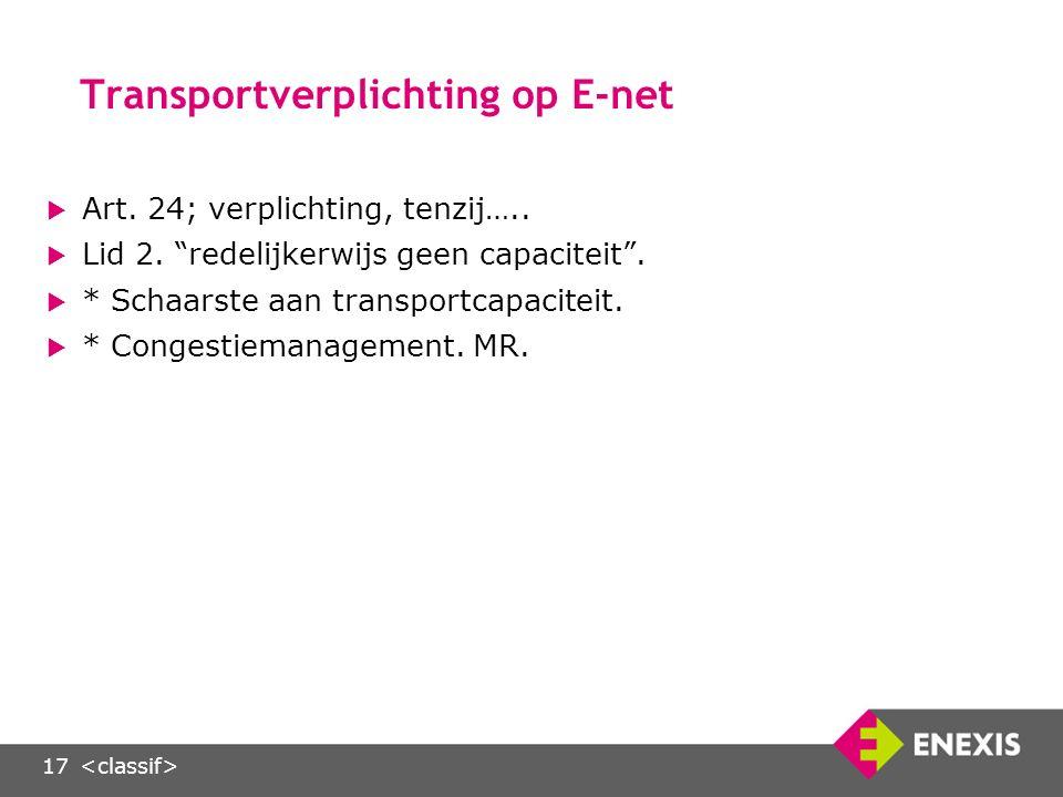 17 Transportverplichting op E-net  Art. 24; verplichting, tenzij…..