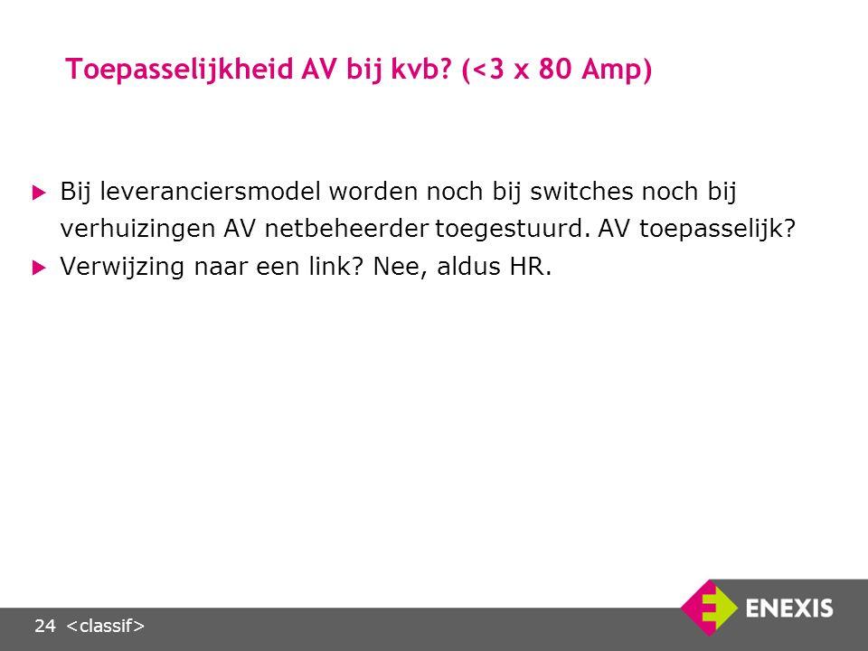 24 Toepasselijkheid AV bij kvb.