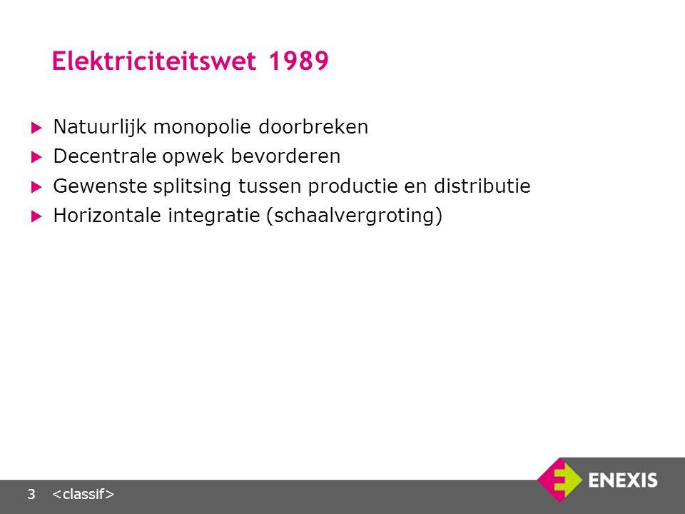 3 Elektriciteitswet 1989  Natuurlijk monopolie doorbreken  Decentrale opwek bevorderen  Gewenste splitsing tussen productie en distributie  Horizontale integratie (schaalvergroting)
