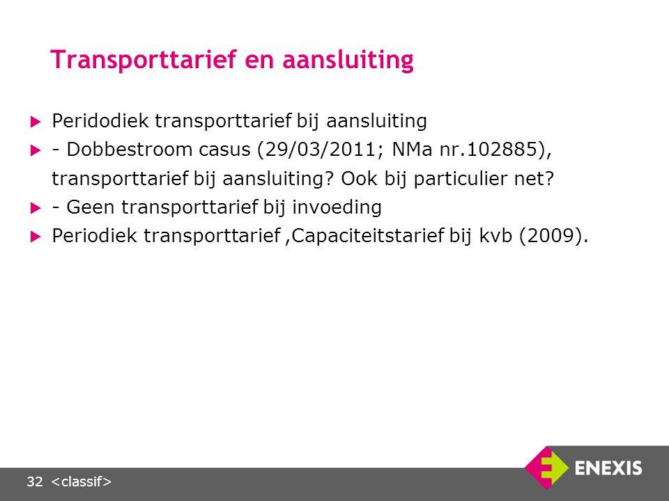 32 Transporttarief en aansluiting  Peridodiek transporttarief bij aansluiting  - Dobbestroom casus (29/03/2011; NMa nr.102885), transporttarief bij aansluiting.