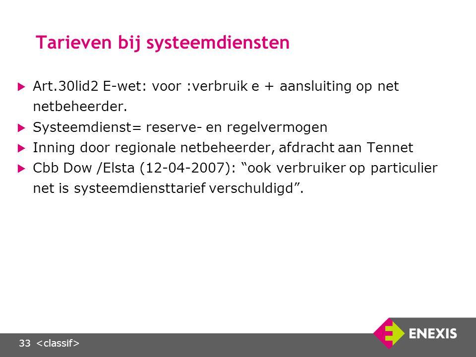 33 Tarieven bij systeemdiensten  Art.30lid2 E-wet: voor :verbruik e + aansluiting op net netbeheerder.
