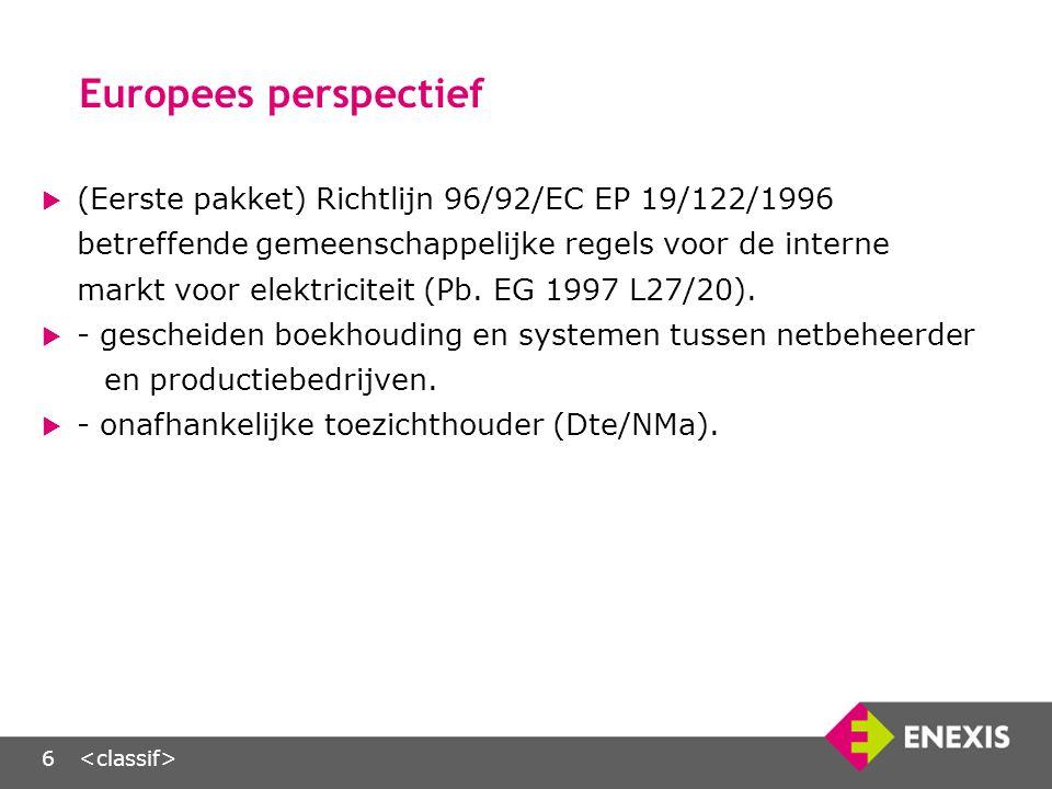 6 Europees perspectief  (Eerste pakket) Richtlijn 96/92/EC EP 19/122/1996 betreffende gemeenschappelijke regels voor de interne markt voor elektriciteit (Pb.