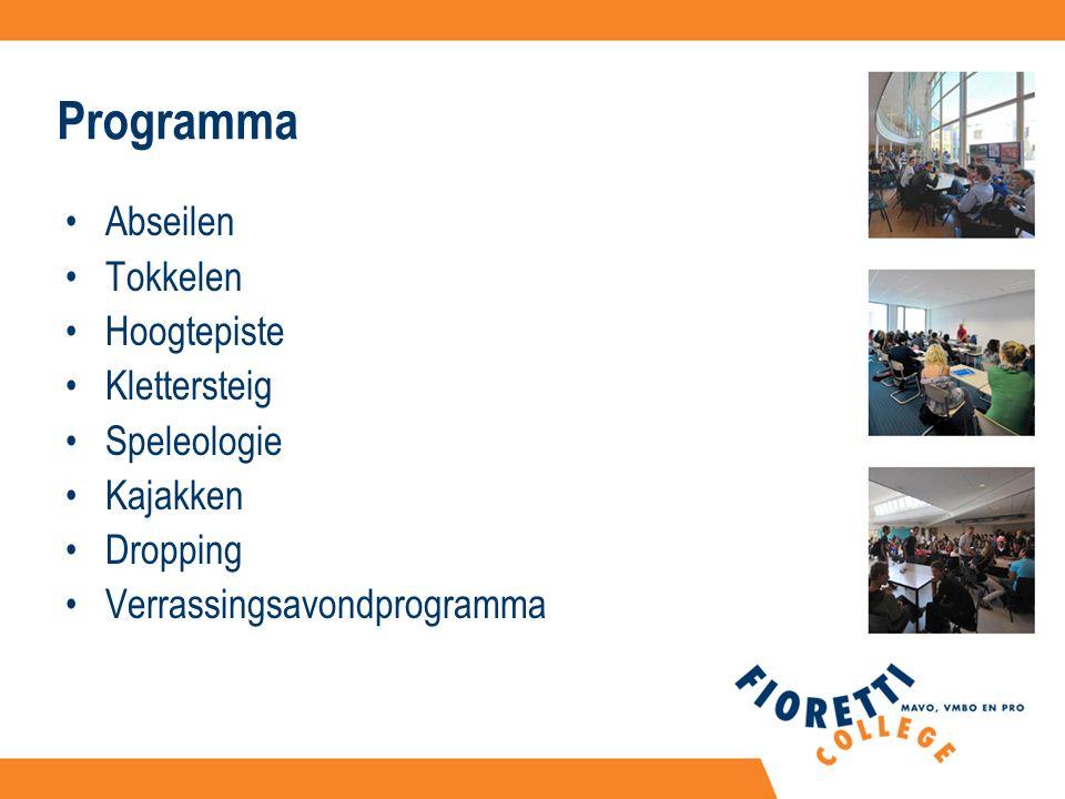 Programma Abseilen Tokkelen Hoogtepiste Klettersteig Speleologie Kajakken Dropping Verrassingsavondprogramma