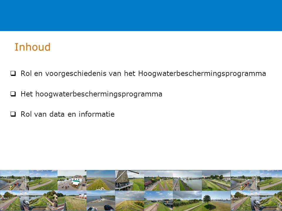 Inhoud  Rol en voorgeschiedenis van het Hoogwaterbeschermingsprogramma  Het hoogwaterbeschermingsprogramma  Rol van data en informatie
