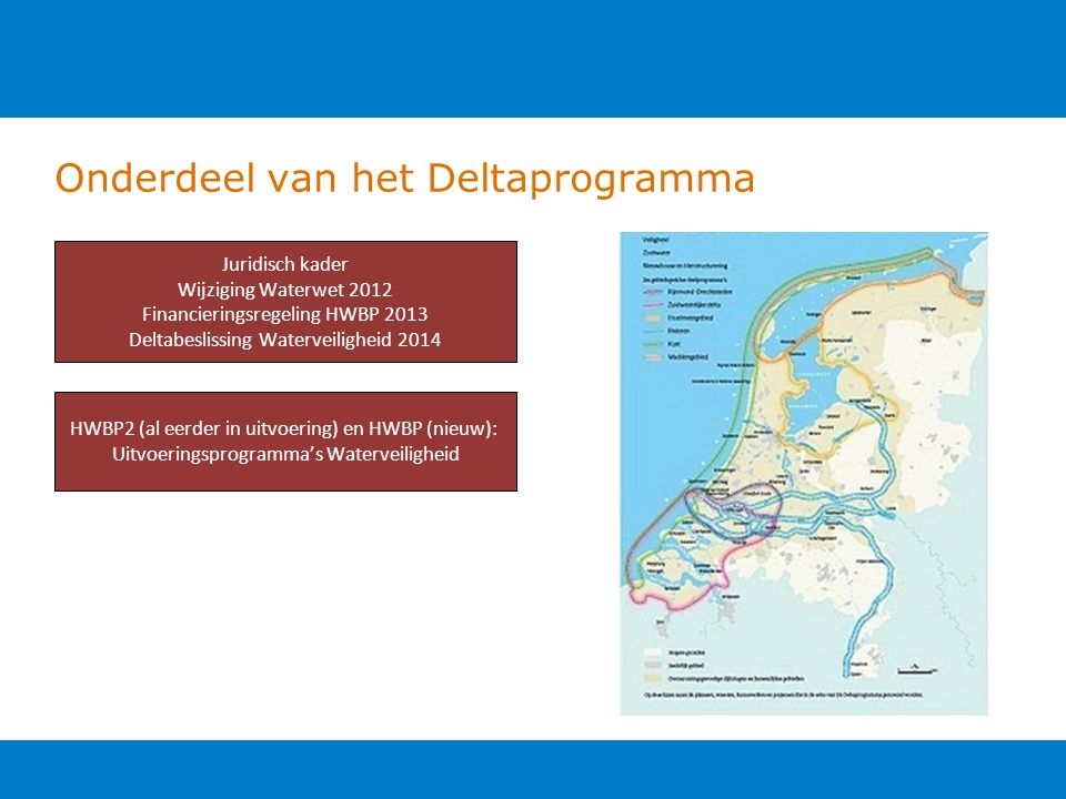 Onderdeel van het Deltaprogramma Juridisch kader Wijziging Waterwet 2012 Financieringsregeling HWBP 2013 Deltabeslissing Waterveiligheid 2014 HWBP2 (al eerder in uitvoering) en HWBP (nieuw): Uitvoeringsprogramma's Waterveiligheid