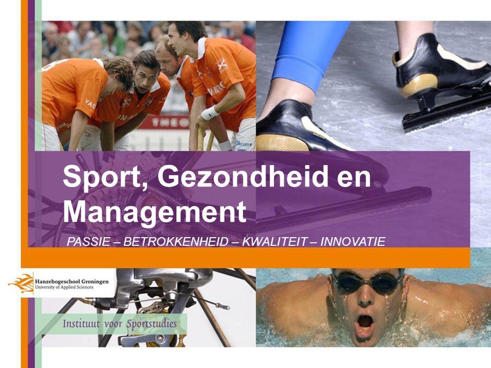 Sport, Gezondheid en Management PASSIE – BETROKKENHEID – KWALITEIT – INNOVATIE