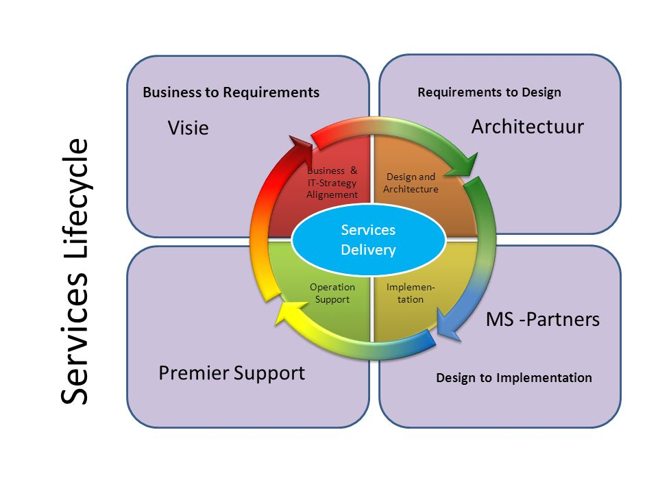 Implementation to Optimization Services Lifecycle Business & IT-Strategy Alignement Design and Architecture Implemen- tation Operation Support Busines