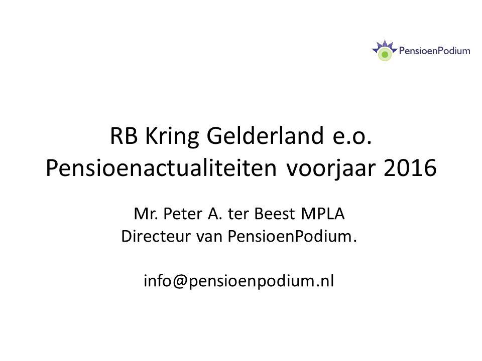 RB Kring Gelderland e.o. Pensioenactualiteiten voorjaar 2016 Mr.
